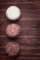 Milk chocolate,white chocolate and dark chocolate truffles on a - PhotoDune Item for Sale