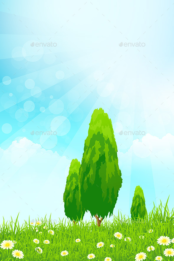Fresh Green Grass with Trees