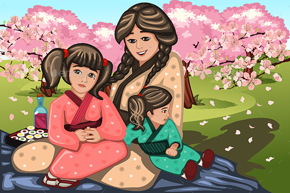 Japanese Woman and Her Children