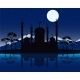 Silhouette Mosques in the Night - GraphicRiver Item for Sale