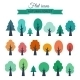 Set with Colored Flat Trees - GraphicRiver Item for Sale