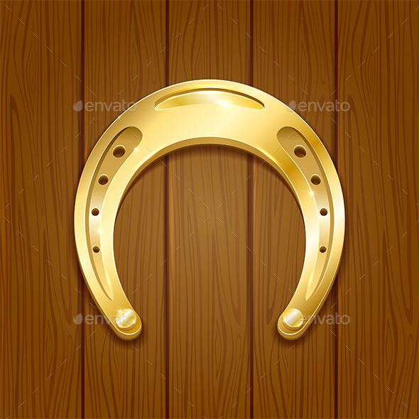 Horseshoe on Wooden Background