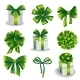 Set of Green Gift Bows with Ribbons - GraphicRiver Item for Sale