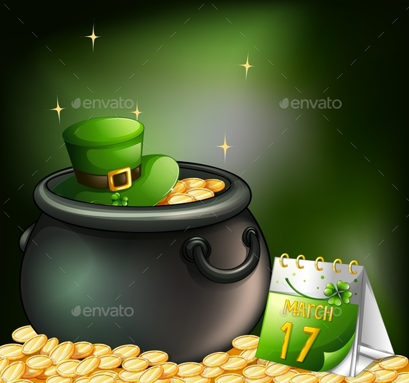 Pot of Gold Coins with a Hat and a Calendar