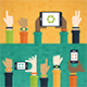 Hands Raised with Mobile Devices - GraphicRiver Item for Sale