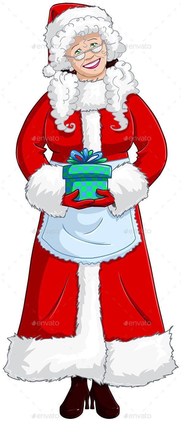 Mrs Santa Claus Holding a Present