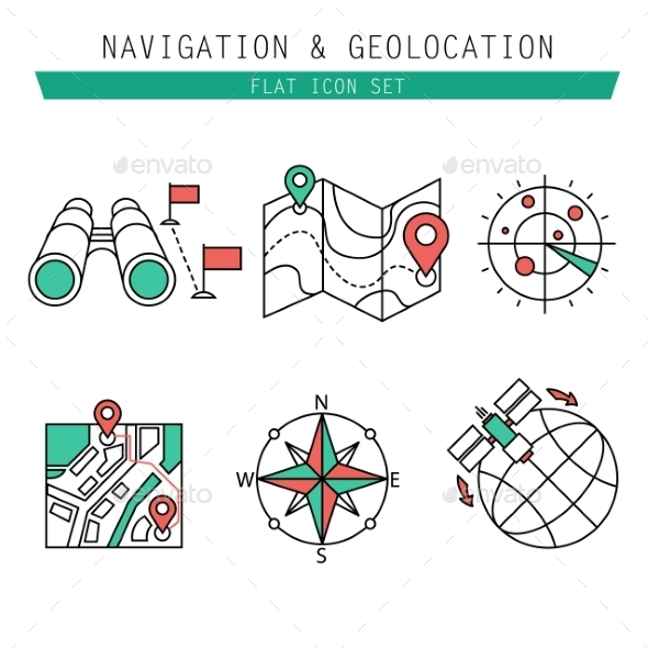 Different Navigation Icons Set With Rounded Corner
