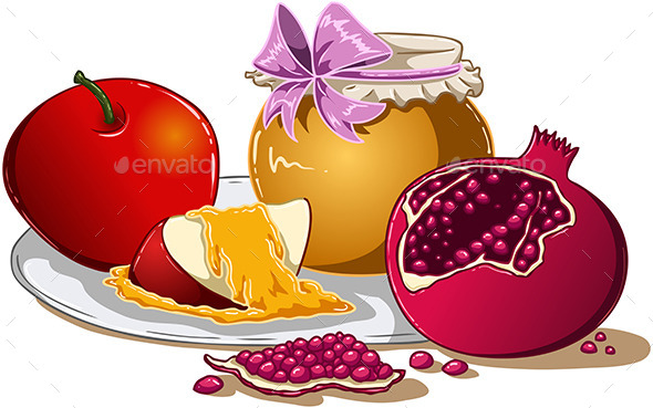 Honey Apple And Pomegranate for Rosh Hashanah