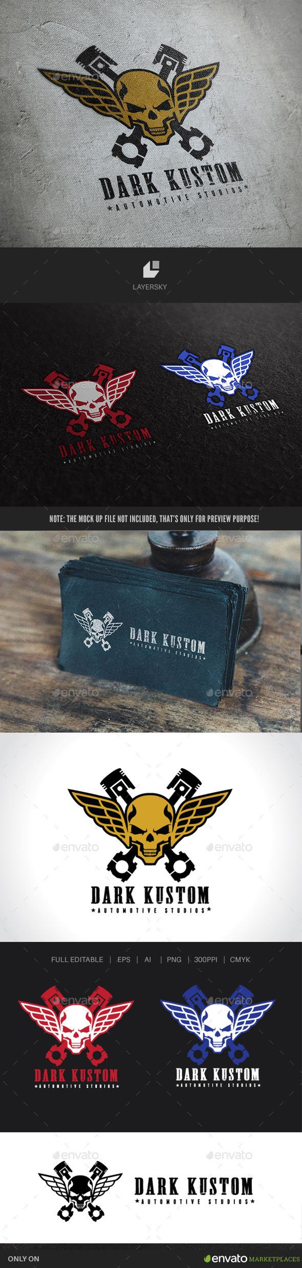 Dark Custom Skull Logo