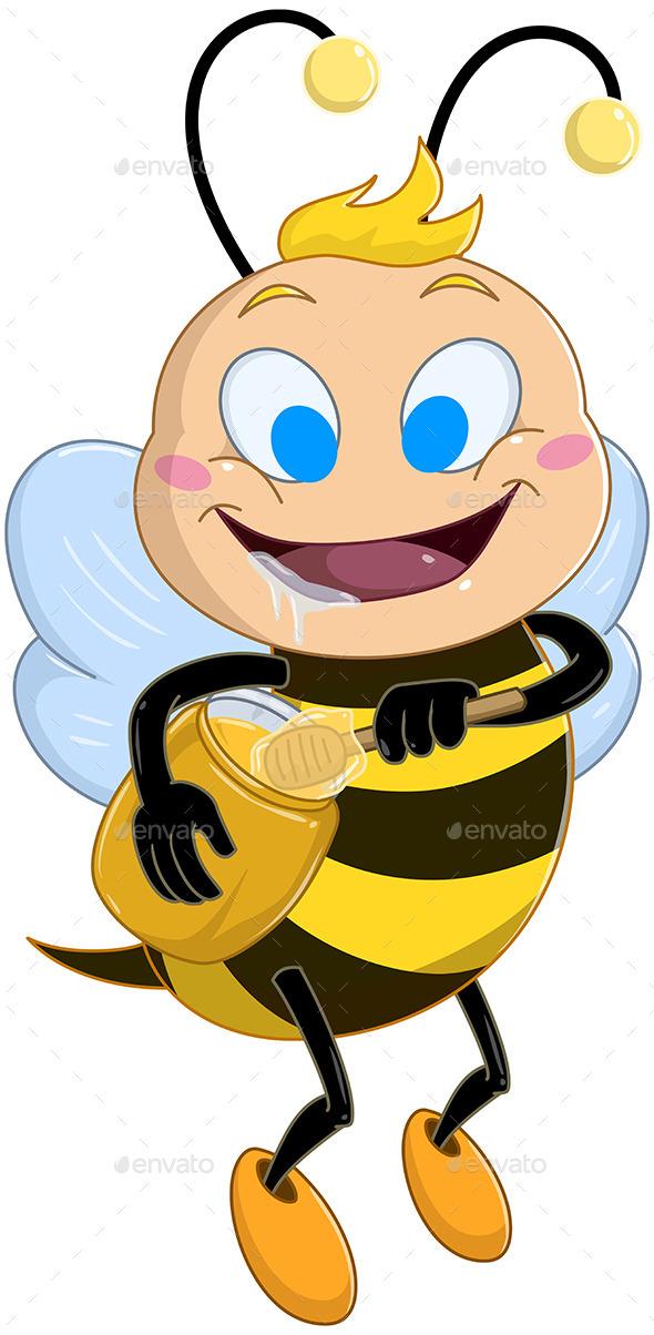 Drooling Bee Holds Honey Jar