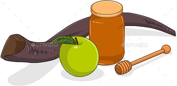 Honey Jar with Apple and Shofar for Yom Kippur