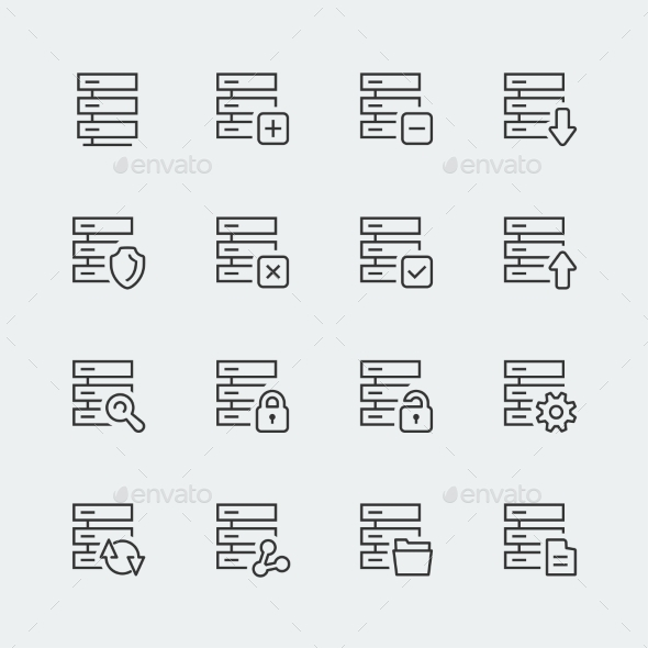 Hosting, Computer Network Vector Icons Set, Thin l