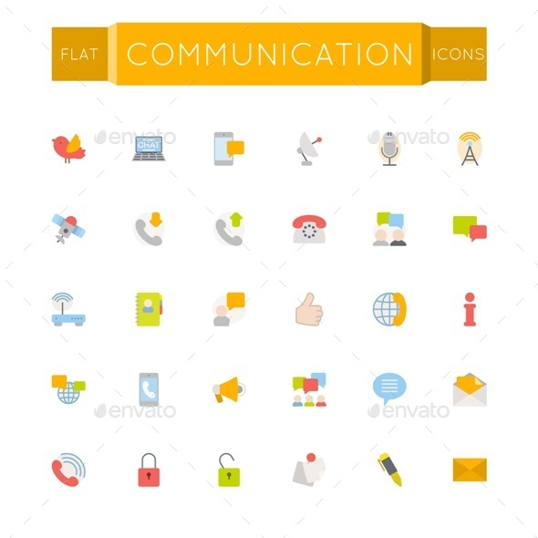 Vector Flat Communication Icons