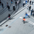 urban traffic concept - city street with a motion blurred crowd - PhotoDune Item for Sale