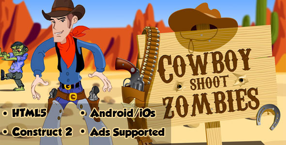 Cowboy Shoot Zombies - HTML5 Android (CAPX)