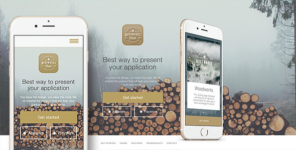 Woodworks - Responsive Bootstrap App Landing page