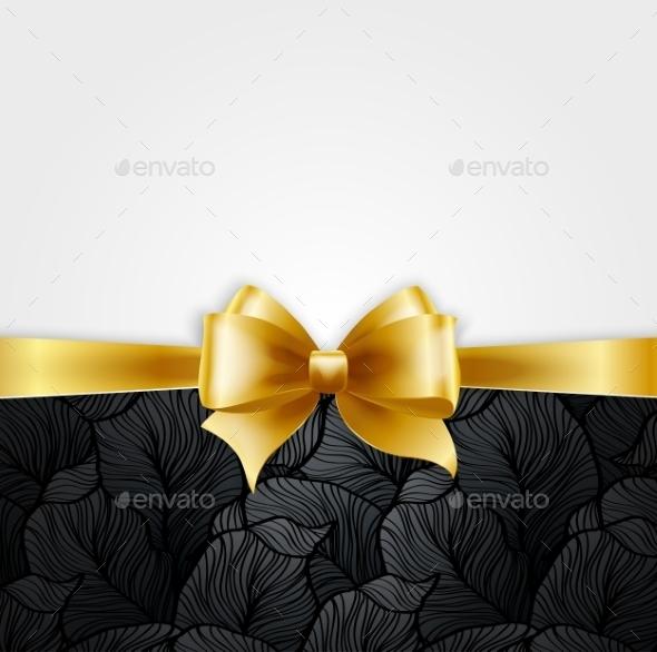 Invitation Card with Gold Holiday Ribbon