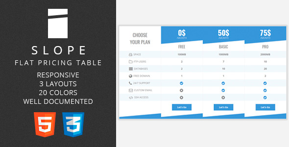 Slope - Flat Pricing Table Download