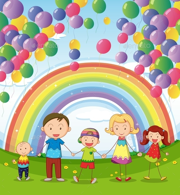 Happy Family Under Floating Balloons