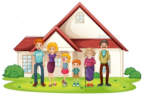 Family in Front of Their House