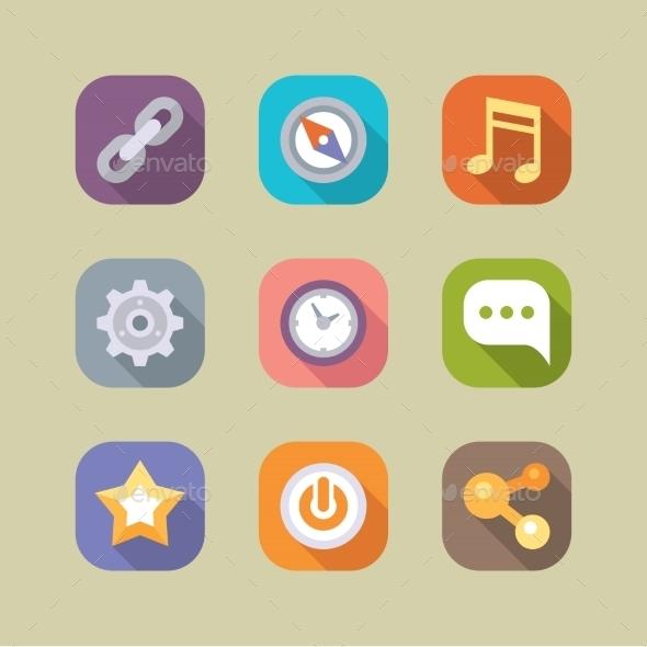 Social Media Icons Set Mobile Apps
