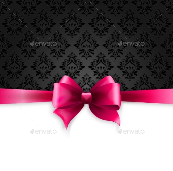 Invitation Card with Pink Ribbon
