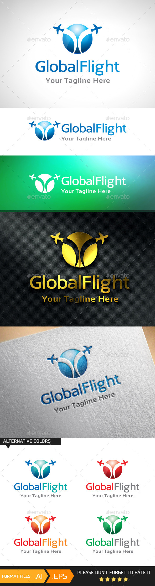 Global Flight Logo Template