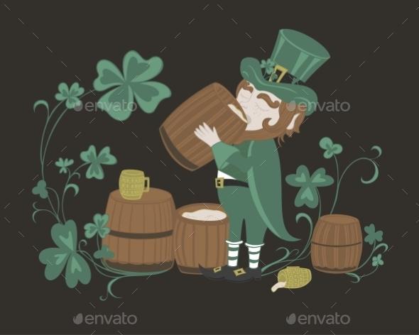 Leprechaun Drinks Beer from a Wooden Barrel