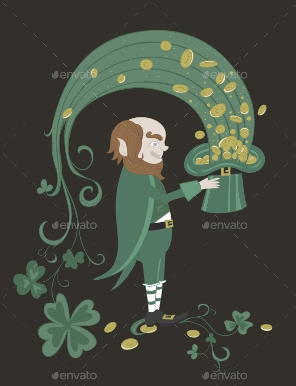 Leprechaun Holding a Green Hat with Gold Coins
