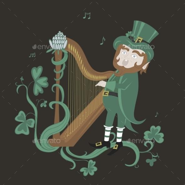 Leprechaun Playing the Harp and Singing