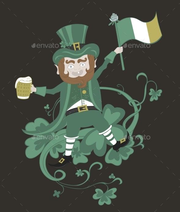 Leprechaun with Flag Holding a Mug of Beer
