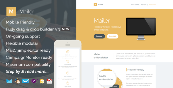 Mailer, Responsive Email Template + Builder Access