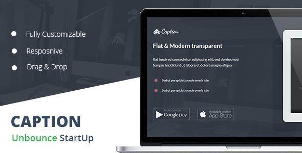 Caption Flat Startup Landing Page
