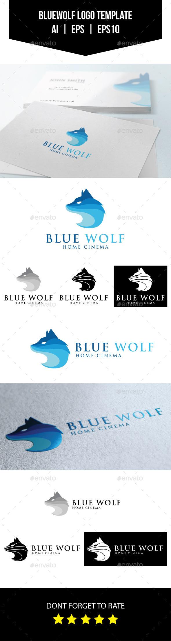 Blue Wolf Logo Template