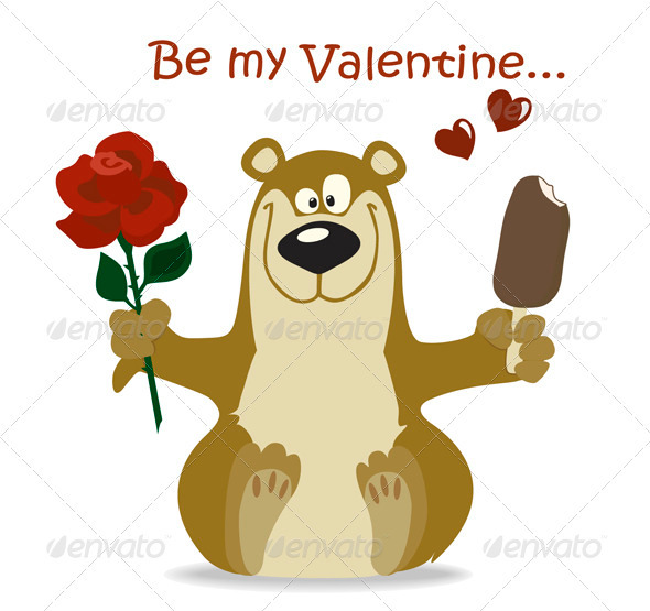 Valentine Bear With Red Rose