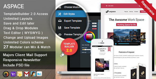 Aspace Responsive Email + Template Builder