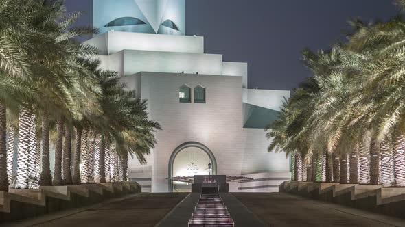 Beautiful Museum of Islamic Art Night Timelapse in Doha Qatar