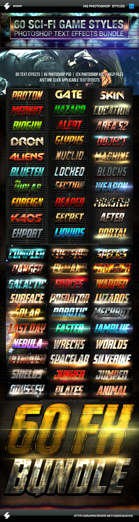 Action Sci-fi Game Style Text Effects Bundle