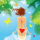 Woman in Bikini Swimwear at Tropical Beach - GraphicRiver Item for Sale