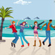 Young People Dancing at the Beach - GraphicRiver Item for Sale