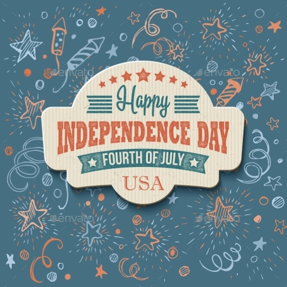 Retro Typography Independence Day Card