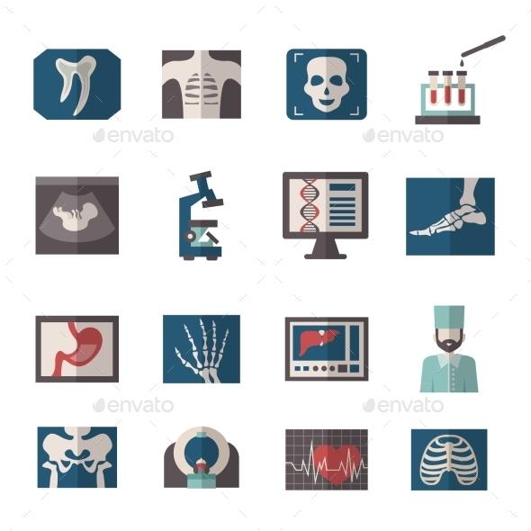 Ultrasound X-ray Icons Flat