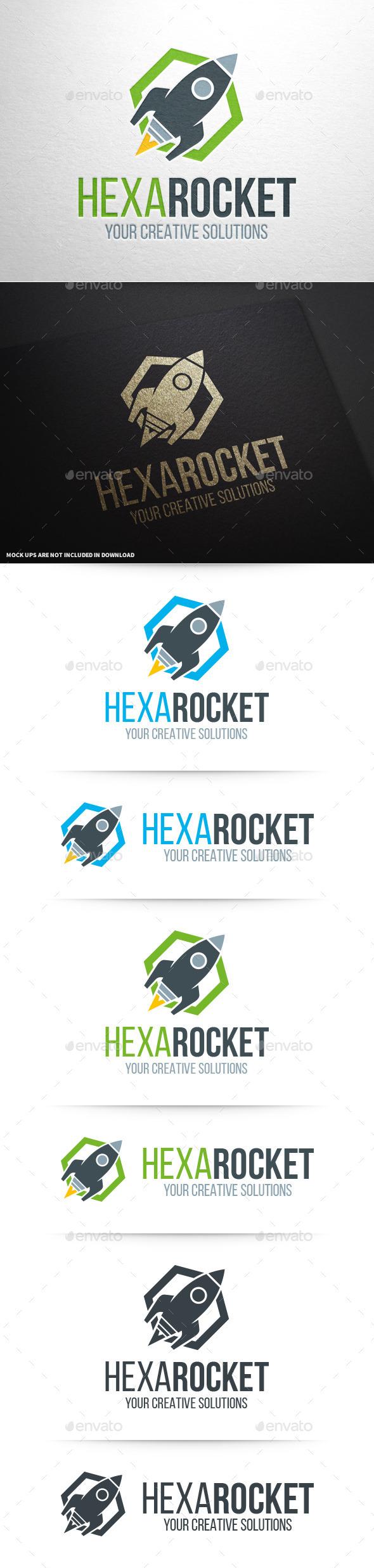 Hexa Rocket Logo Template