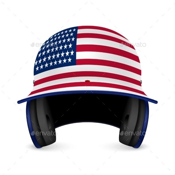 Patriotic Baseball Helmet with US Flag
