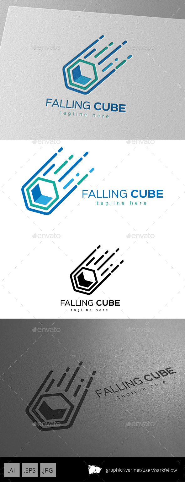 Falling Cube Logo Design