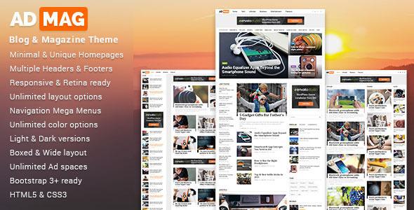 ADMAG - responsywny szablon HTML blogu i magazynu