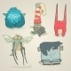 Vector Set Of Illustrations Cartoon Cute Monsters - GraphicRiver Item for Sale