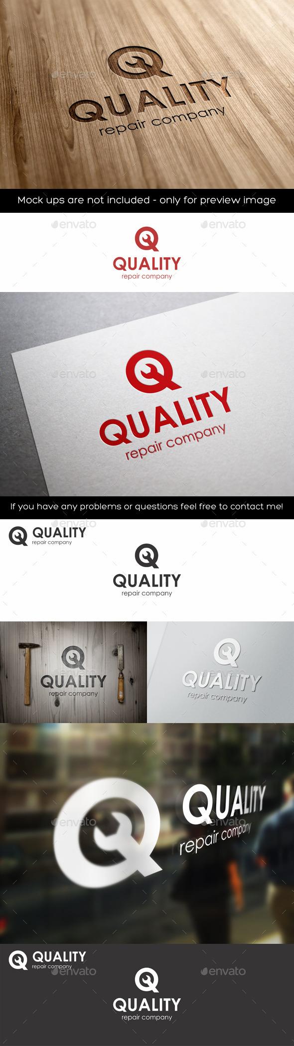 Quality Repair Q Letter Logo