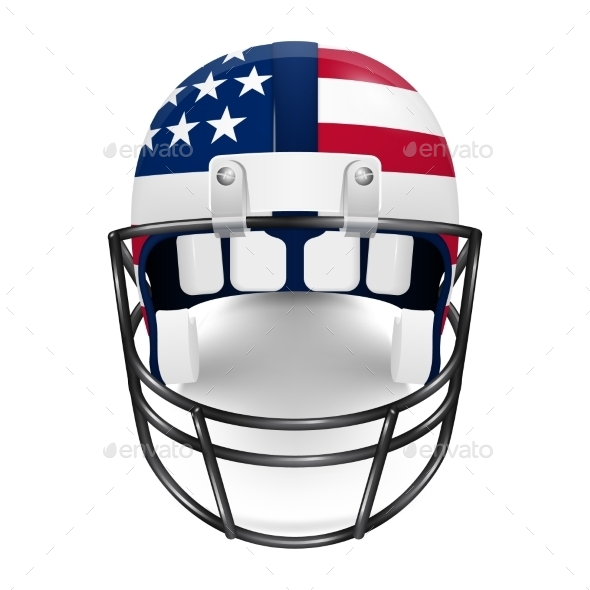 Patriotic Football Helmet - US Flag.