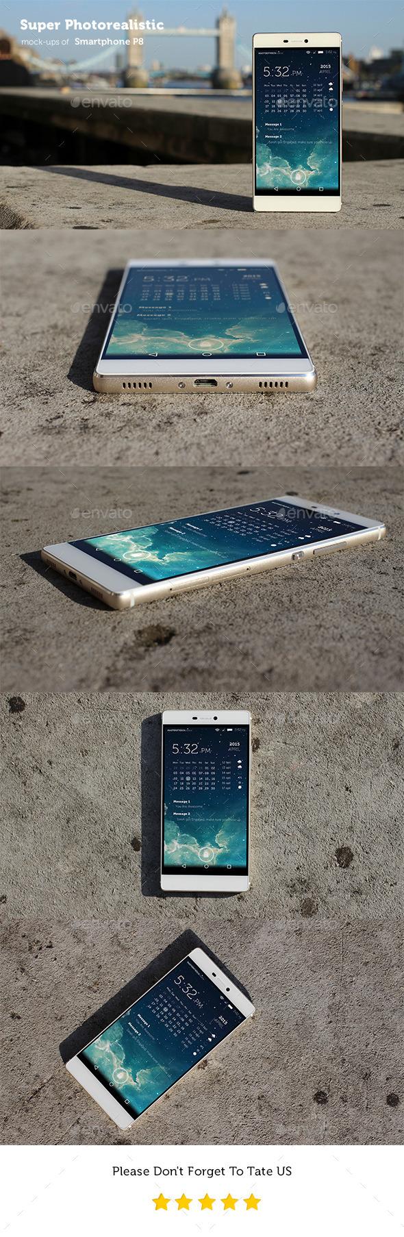 Photorealistic Smartphone P8 Mockups